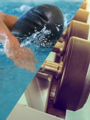 Image scindé en deux dans la diagonale, dans la partie gauche on aperçois une personne qui nage le croll et dans la partie droite une image de poids à soulever.