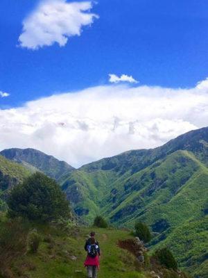 Paysage de collines verdoyante, avec un ciel bleu, une personne, de dos entrain marcher